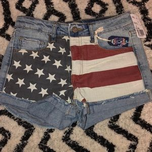 Denim jean shirts with American flag